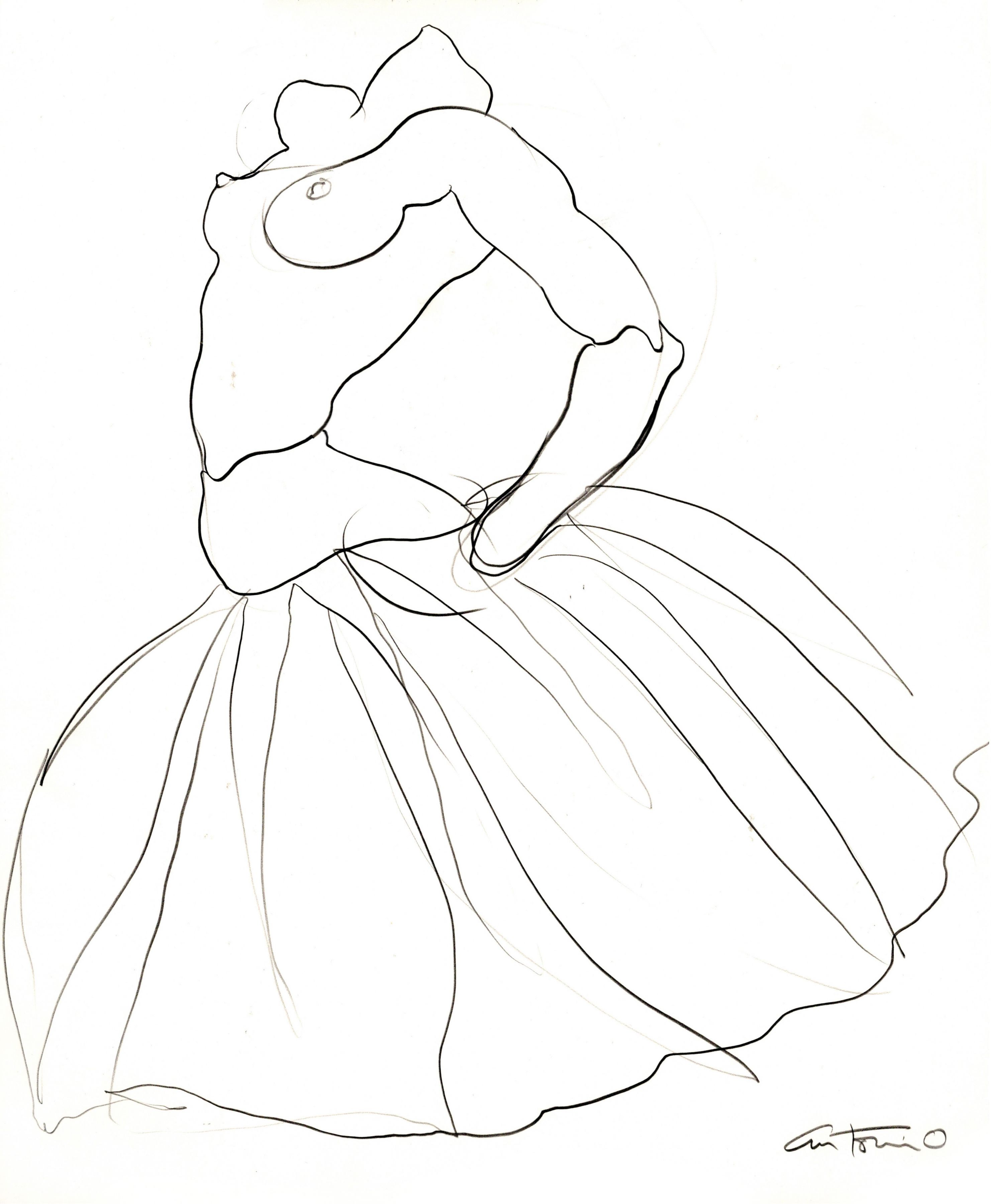 Drawing of ballerina by Antonio Lopez