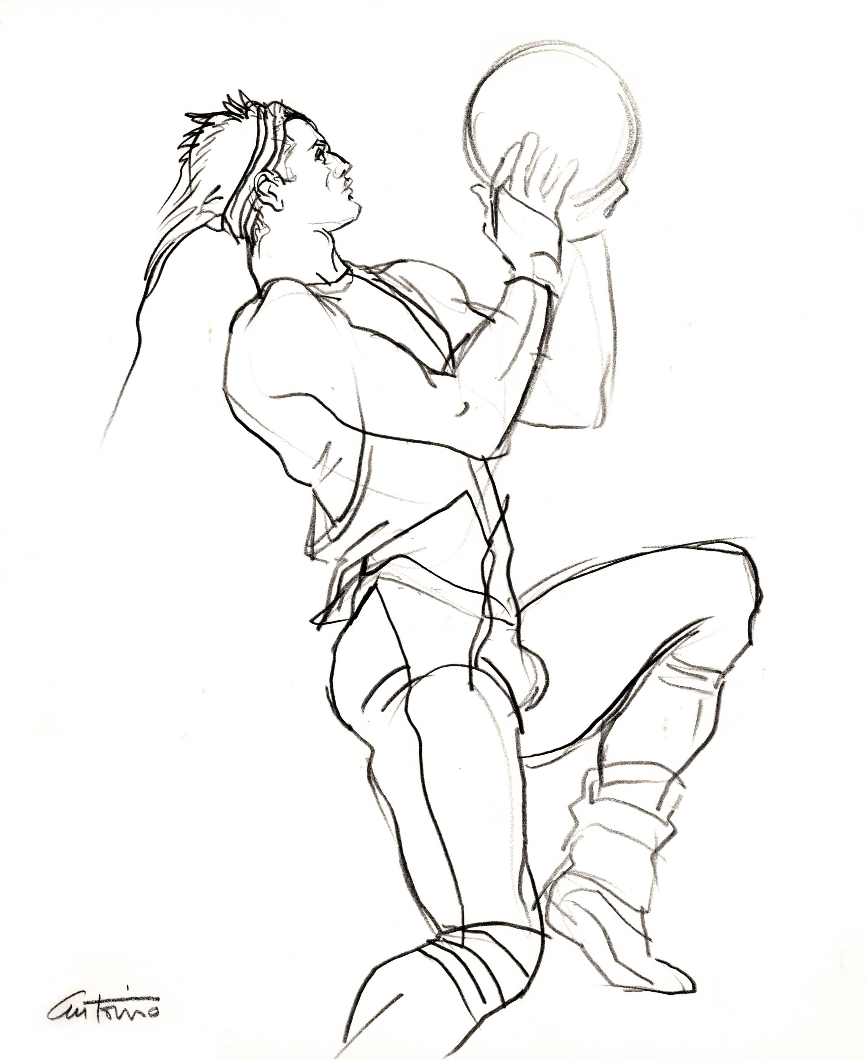 Drawing of basketball player by Antonio Lopez
