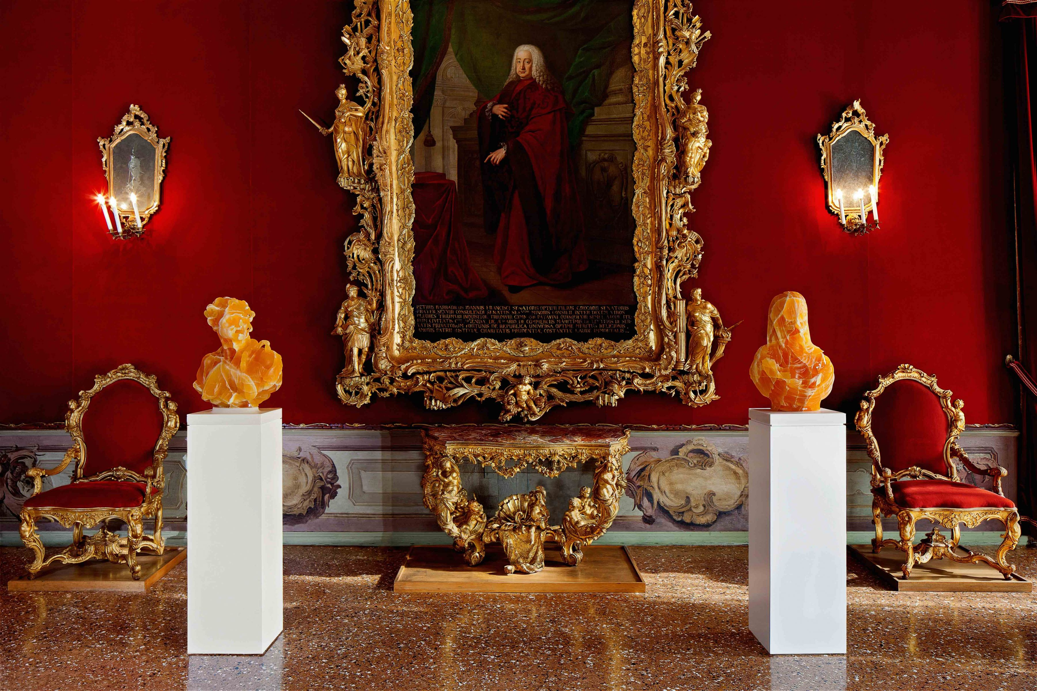Barry X Ball Envy and Purity in Utah Golden Honeycomb Calcite The Throne Room — Ca' Rezzonico, Venice archival inkjet print