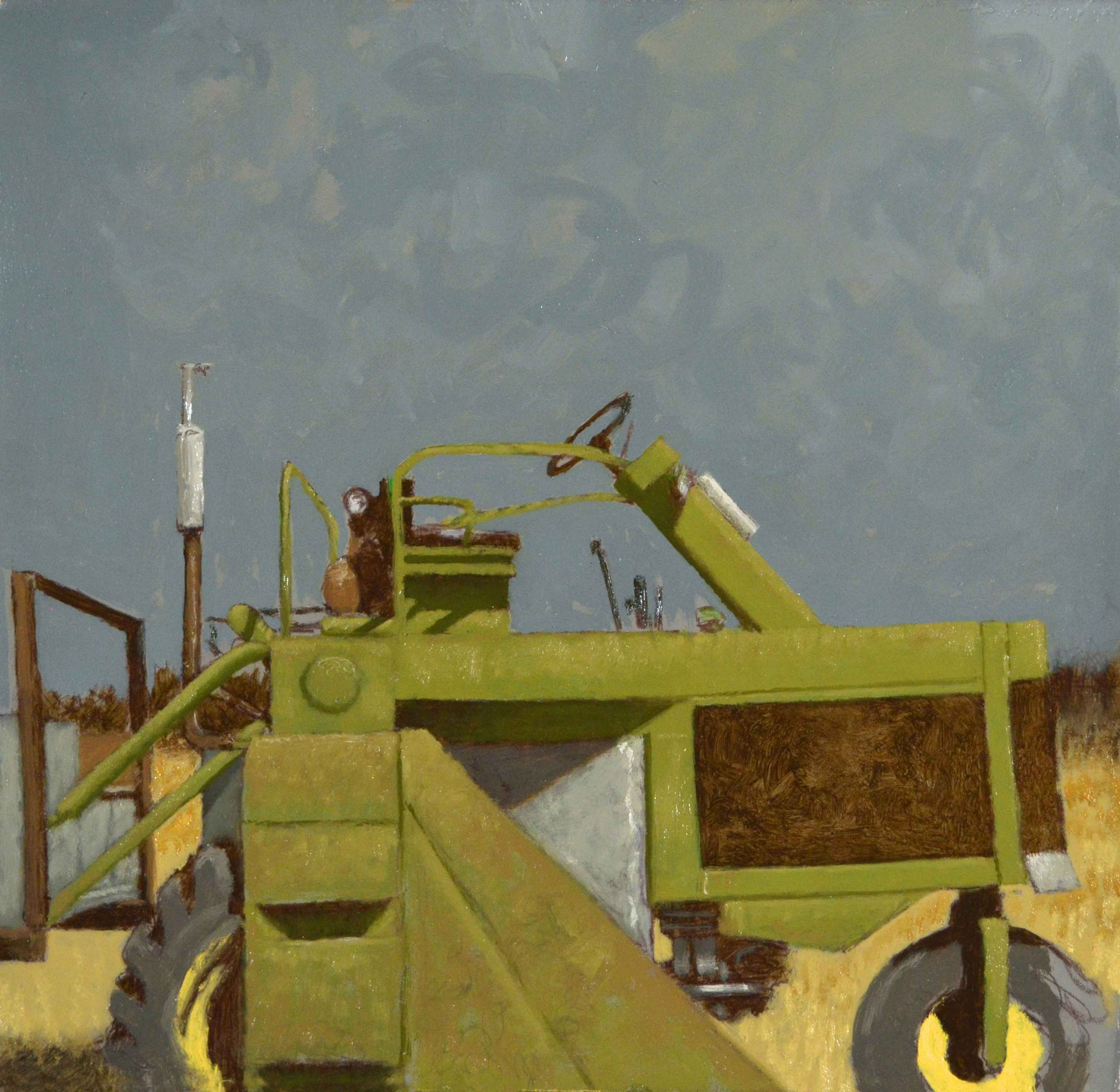 """Green Tractor, 12"""" x 12"""", Oil On Panel"""
