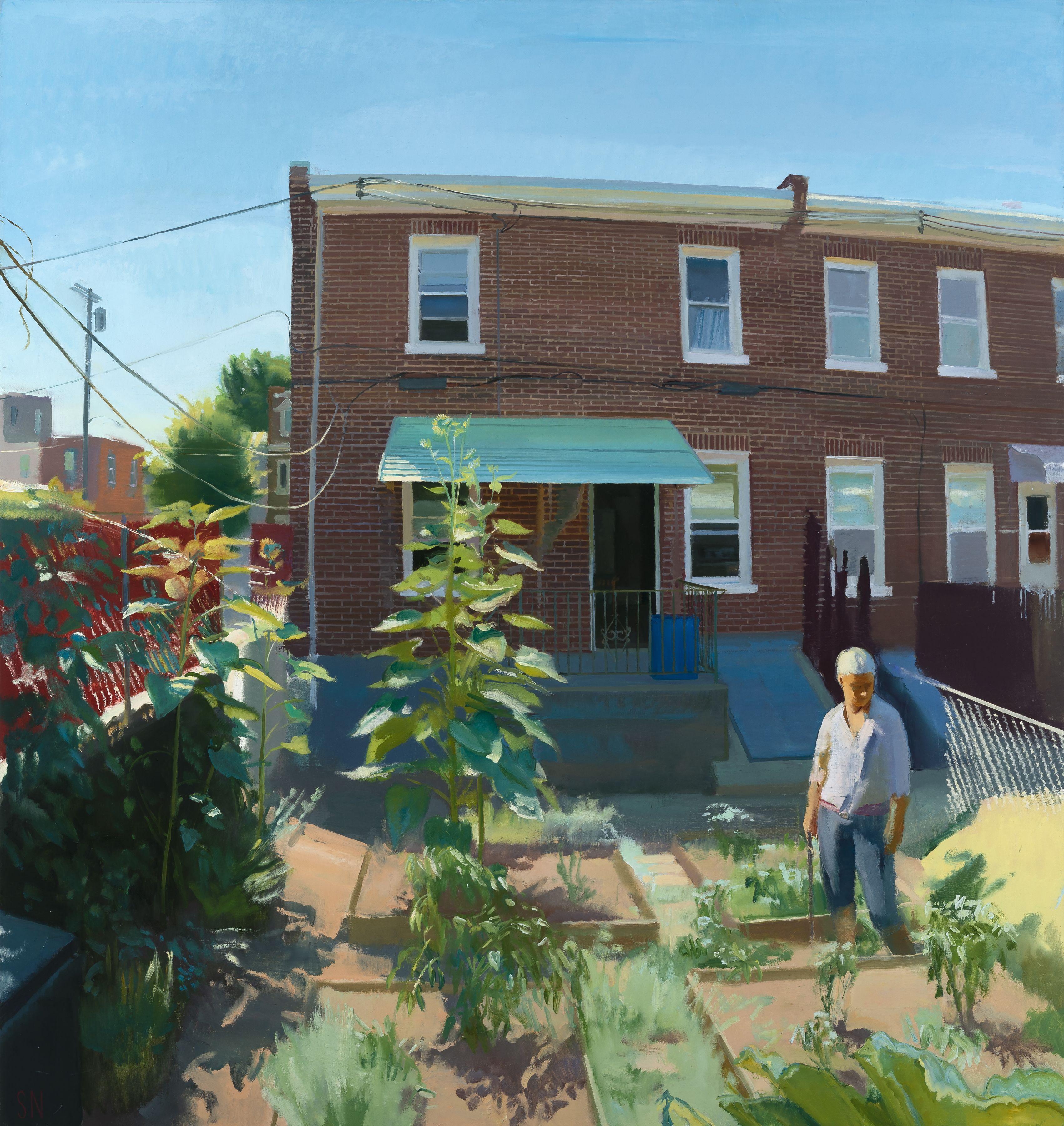 """Jan's Garden in July, 68"""" x 64"""", Oil on canvas"""