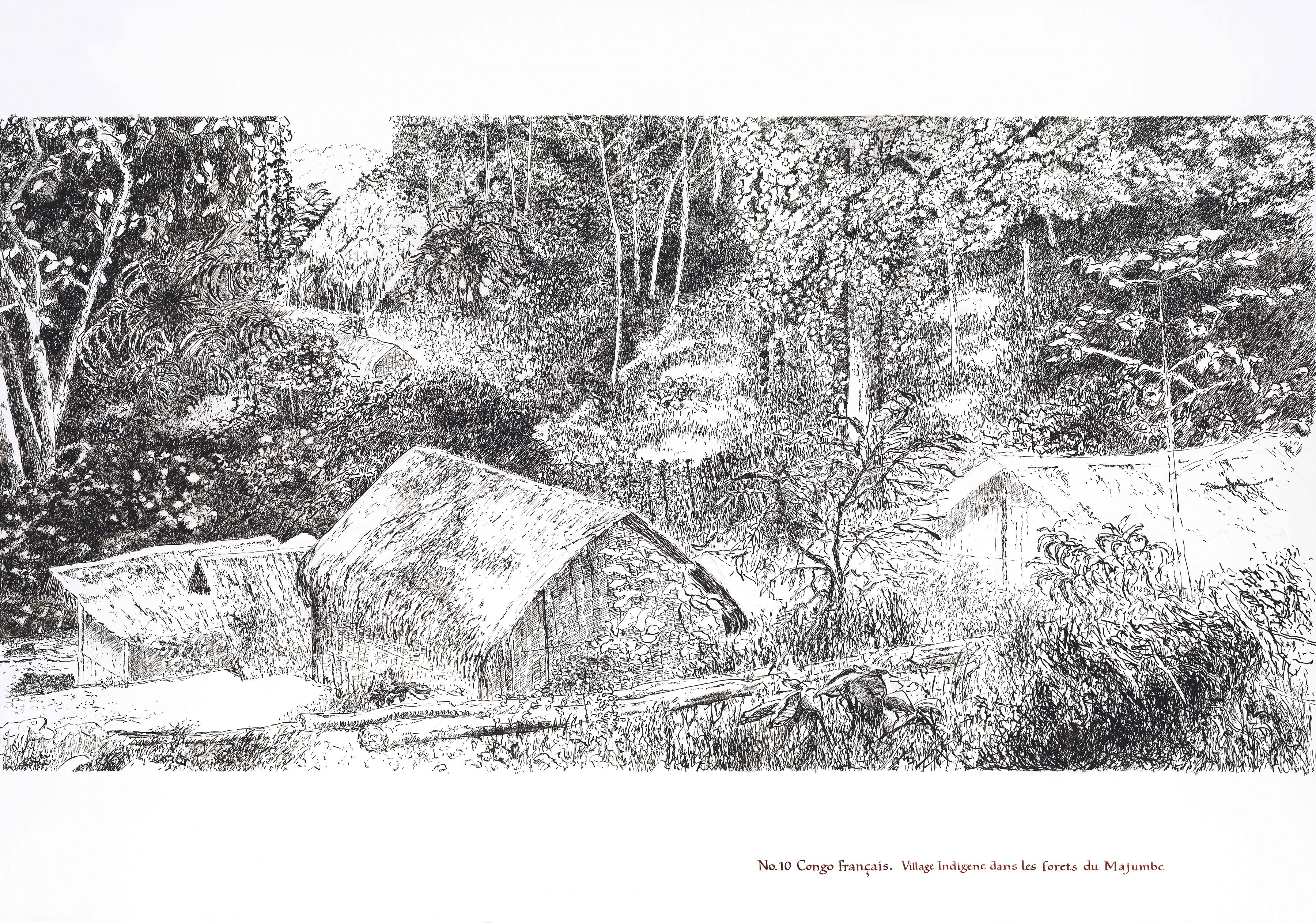 Village in the forests of Majumbe, Congo artwork
