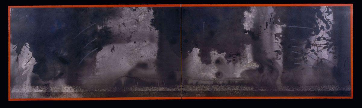 "Koie Ryōji (b. 1938)  Explosive ink design ""Tokaimura""  1999  2-fold ""sleeping"" screen  19 1/2 x 72 1/4 inches  Inv# 10695  POR"