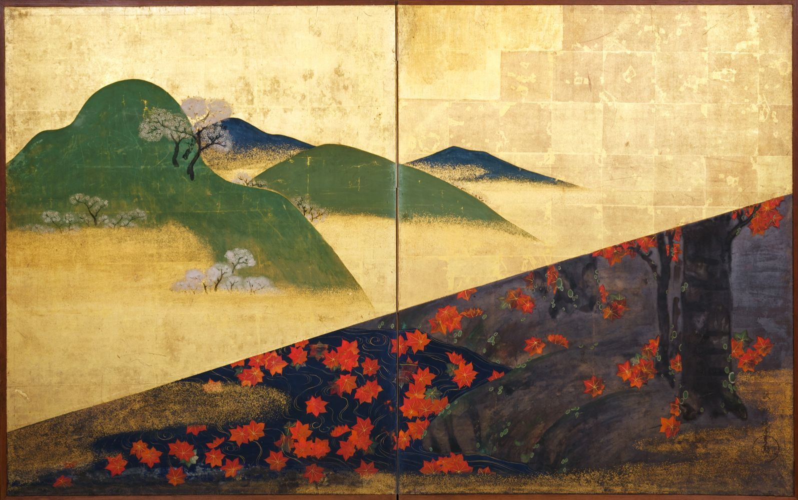 Nakano Kimei (1834-1892)  Two-fold screen depicting cherry blossoms and maple trees  ca. 1870-80  Ink, color and gold leaf on paper  41 3/4 x 66 3/8 inches  Inv# 8611  POR