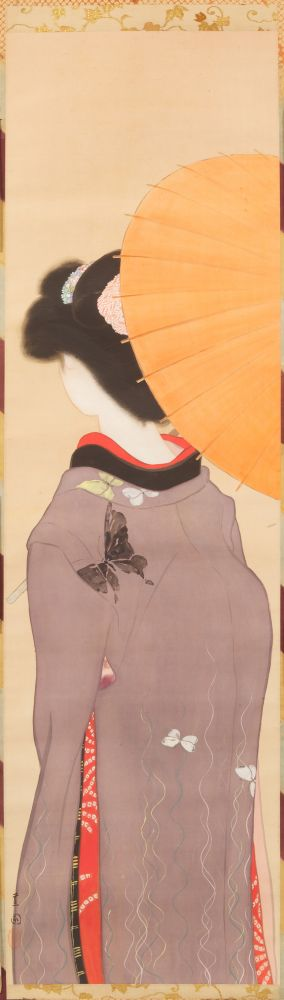 Ikeda Shōen (1886-1917)  Young beauty with an umbrella seen from behind  ca. 1910  Ink and color on silk with mica accents  45 x 12 1/2 inches  Inv# 8217  $9,500