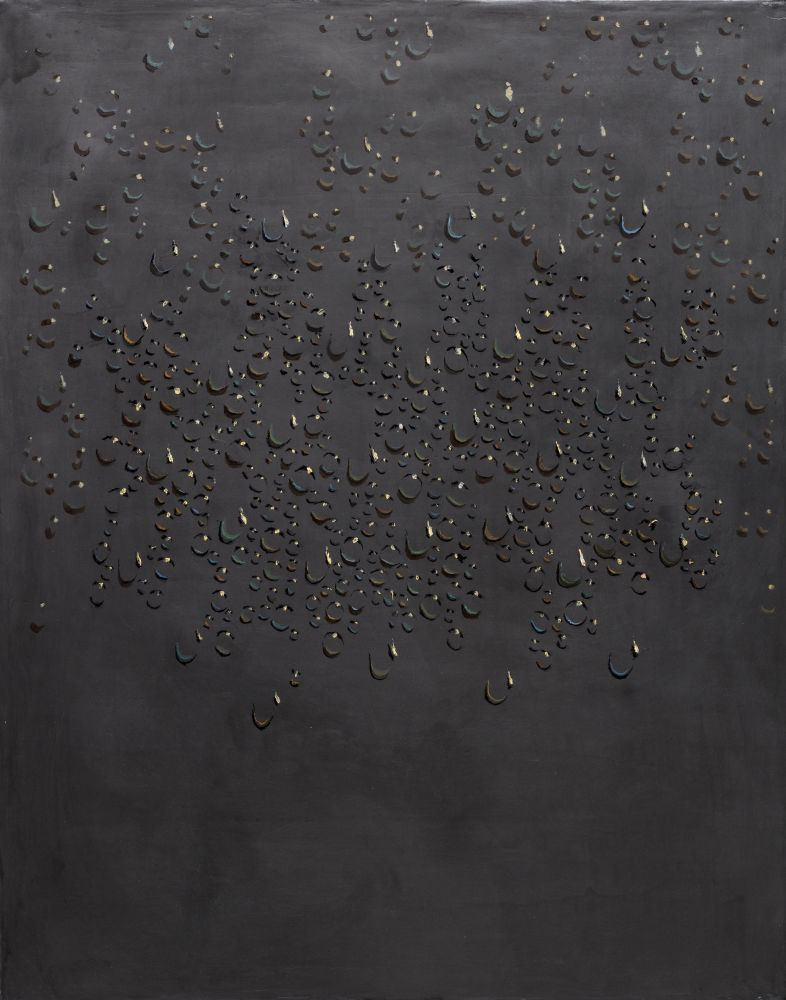 Kim Tschang-Yeul (b. 1929) Water drops, 1986 Graphite and oil on canvas 36.22 x 28.74 inches 92 x 73 cm