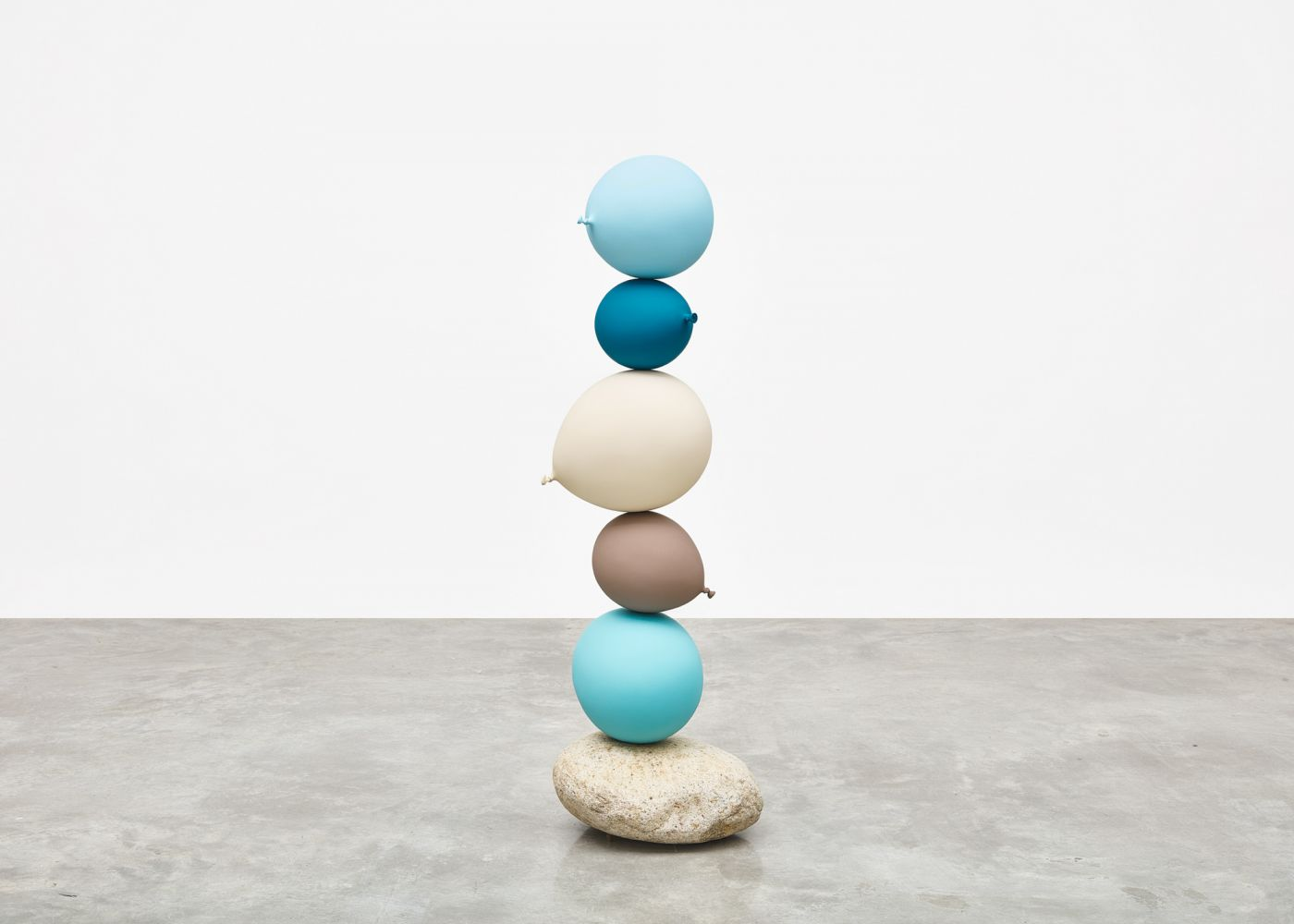 Gimhongsok (b. 1964) Untitled (Short People) , Light Blue, Blue, Beige, Grey, Light Blue, 2018 Cast bronze, stone 50.79 x 16.54 x 17.32 inches 129 x 42 x 44 cm