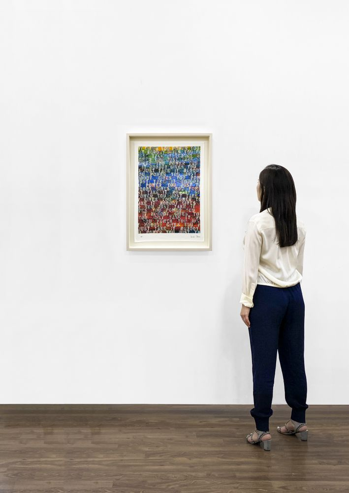Installation View - Ghada Amer, Untitled (based on Sunset with Words - RFGA, 2013), 2020