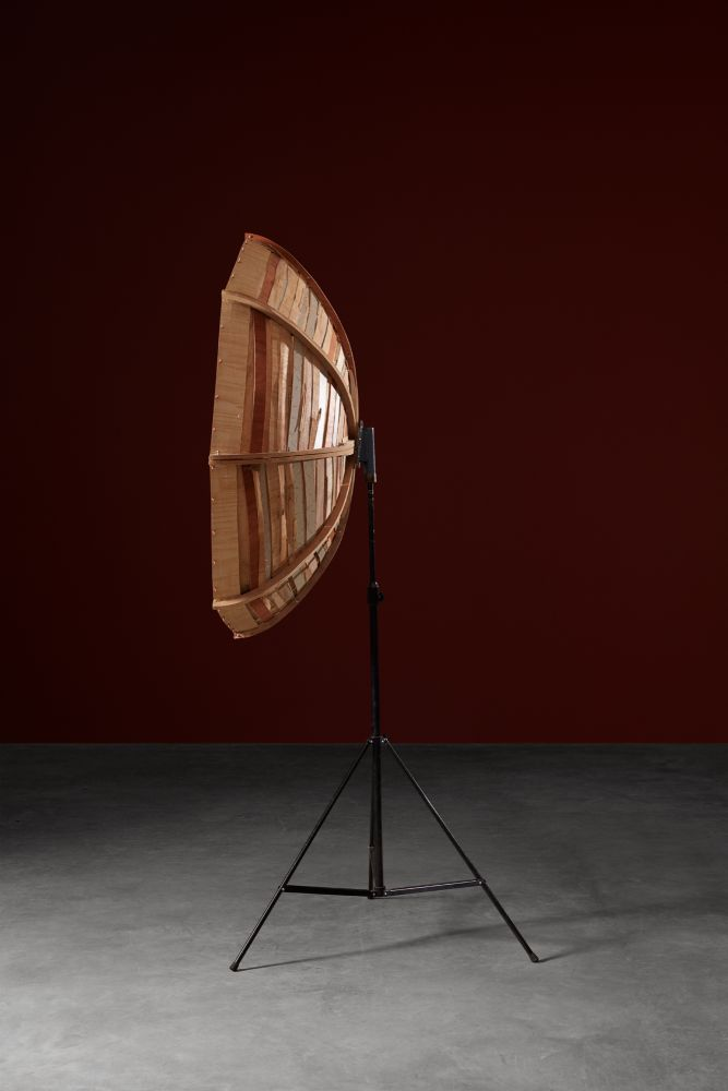 Minouk Lim (b. 1968) Parabolic Satellite, 2015 Plywood, light stand  78.74 x 51.18 x 19.69 inches 200 x 130 x 50 cm Dimensions variable