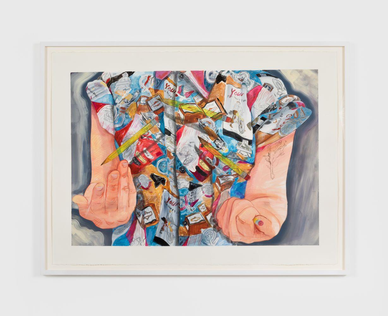 Rebecca Ness, Pencil Flipper, 2020. Gouache and colored pencil on paper, 22 x 30 in, 55.9 x 76.2 cm, 24 5/8 x 32 3/4 in (framed), 62.5 x 83.2 cm (RNE20.024)