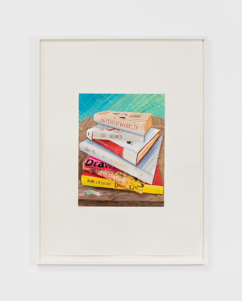Rebecca Ness, Book stack, 2020. Gouache on paper, 30 x 22 in, 76.2 x 55.9 cm, 32 3/4 x 24 5/8 in (framed), 83.2 x 62.5 cm (RNE20.030)