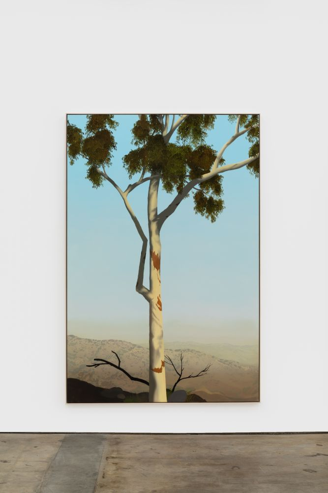 Jake Longstreth In Glendale (Eucalyptus 3), 2020 oil on muslin 84 x 57 in (85 x 57.25 in, framed) 213.4 x 144.8 cm (216 x 145.5 cm, framed) (JLO20.007)
