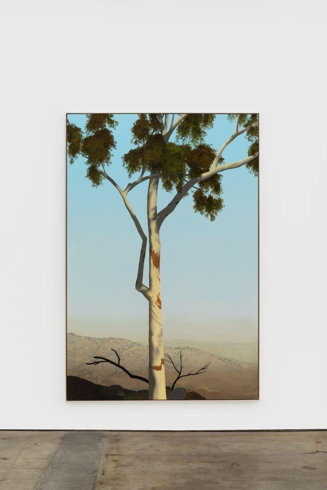 Jake Longstreth In Glendale (Eucalyptus 3), 2020 oil on muslin 84 x 57 in (85 x 57.25 in, framed) 213.4 x 144.8 cm (216 x 145.5 cm, framed) (JLO20.007)