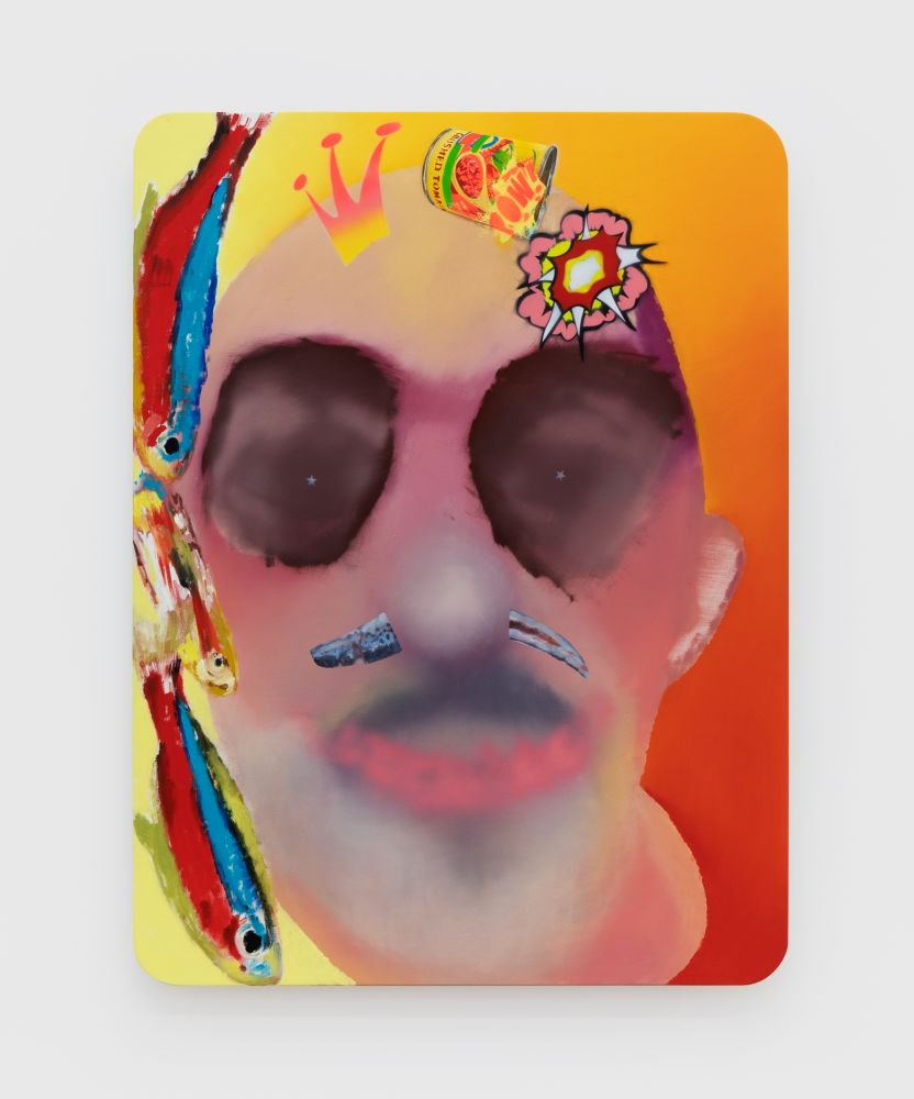 Alessandro Pessoli Neon Anchovy Tomato King, 2020 Oil, spray paint, oil pastels and pencil on wood panel 40 x 30 in 101.6 x 76.2 cm (APE20.015)