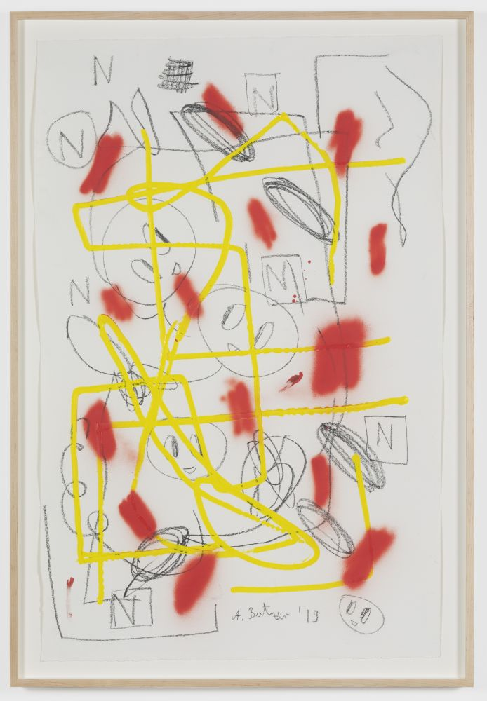 André Butzer Untitled, 2019. Acrylic, Spray paint and pencil on paper 45 x 28 3/4 in 114.3 x 73 cm (AB19.046)