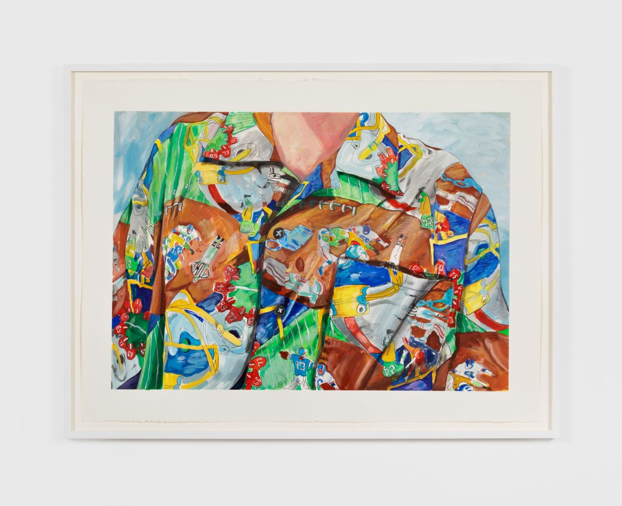 Rebecca Ness, Football Shirt, 2020. Gouache and pencil on paper, 22 x 30 in, 55.9 x 76.2 cm, 24 5/8 x 32 3/4 in (framed), 62.5 x 83.2 cm (RNE20.018)