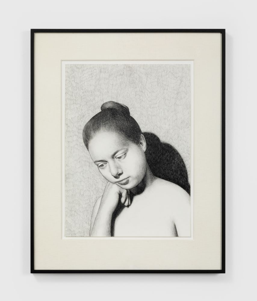 Anna Weyant Untitled, 2020 Graphite on paper 15 x 11 in, 38.1 x 27.9 cm (unframed) 21 x 17 in, 53.3 x 43.2 cm (framed) (AW20.003)