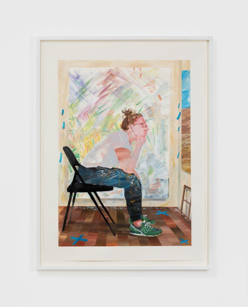 Rebecca Ness, Critique I, 2020. Gouache on paper, 30 x 22 in, 76.2 x 55.9 cm, 32 3/4 x 24 5/8 in (framed), 83.2 x 62.5 cm (RNE20.029)