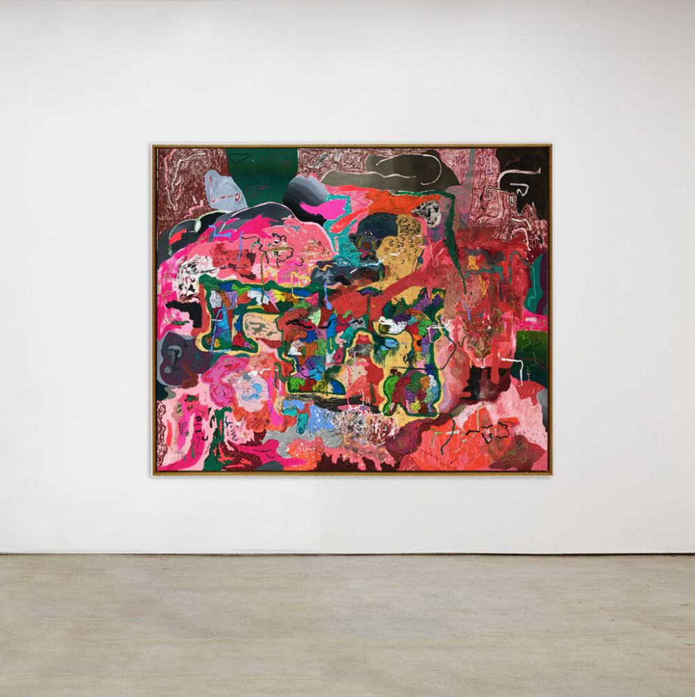 Michael Bauer Golddog, Red Cave and Seaweed, 2020 Oil, crayon, pastel and acrylic on canvas 69 x 61 in 175.3 x 154.9 cm (MBA20.017)