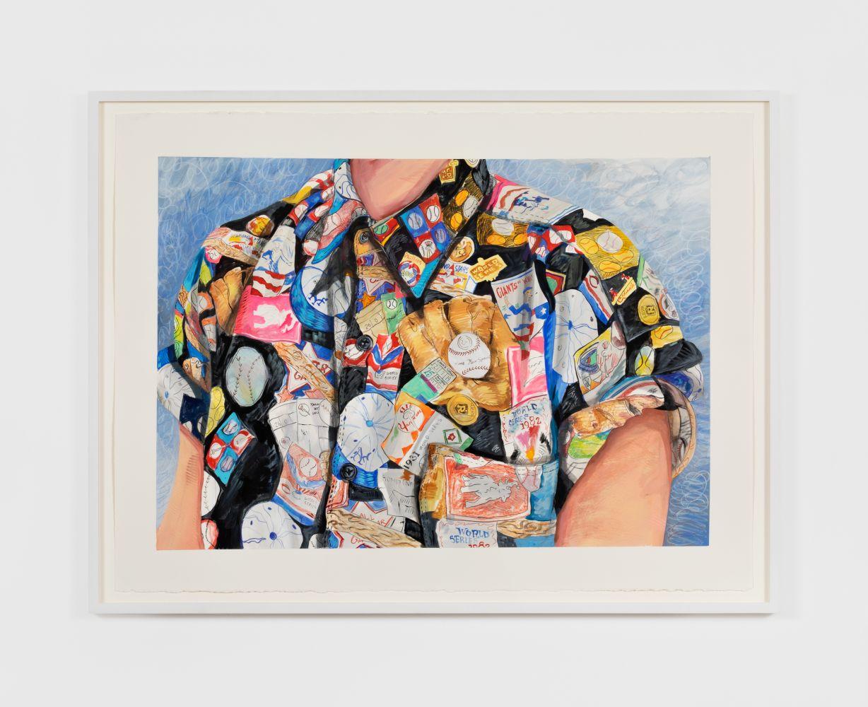 Rebecca Ness, Baseball Shirt, 2020. Gouache and colored pencil on paper, 22 x 30 in, 55.9 x 76.2 cm, 24 5/8 x 32 3/4 in (framed), 62.5 x 83.2 cm (RNE20.031)