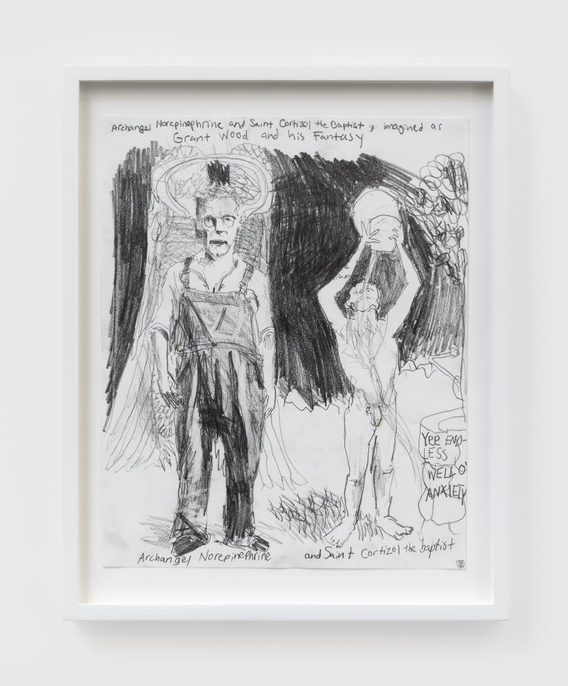 Celeste Dupuy-Spencer Arcangel Norcipinephrine and Saint Cortisol Imagined as Grant Wood and His Fantasy, 2020 Pencil on paper 14 x 11 1/4 in 35.6 x 28.6 cm (CDS20.003)