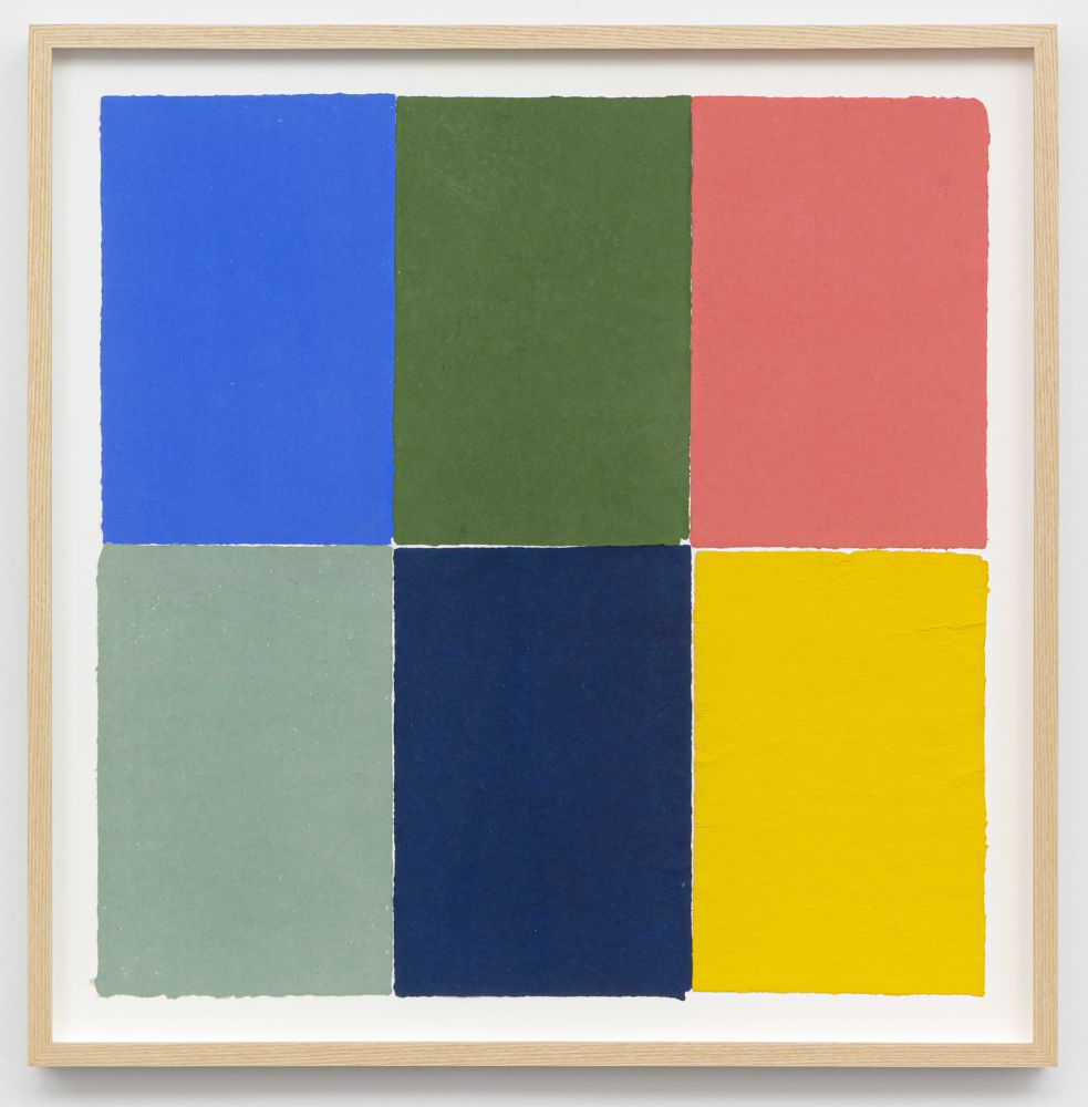 Ethan Cook Two blues, two greens, yellow, pink, 2020 Handmade paper and pigment 19 x 19 in (framed) 48.3 x 48.3 cm (ECO20.004)