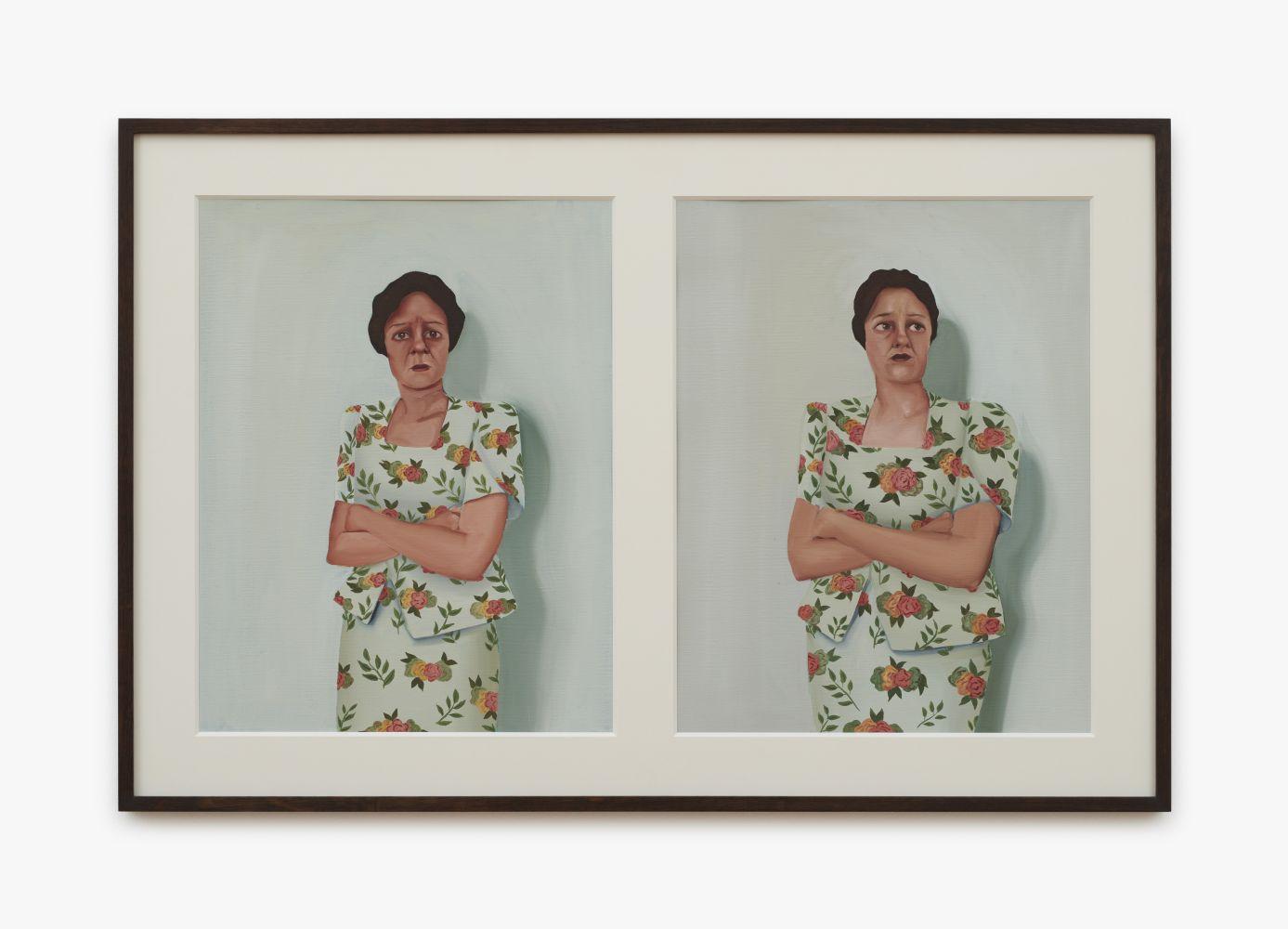 Madeleine Pfull, Box Shoulders Study, 2020. oil on paper, 21 1/2 x 32 1/2 in, framed 54.5 x 82.5 cm, framed (MP20.026)