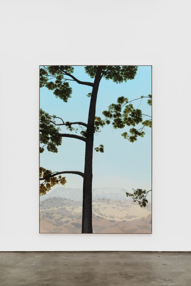 Jake Longstreth In Glendale (Pine 5), 2020 oil on muslin 84 x 57 in (85 x 57.25 in, framed) 213.4 x 144.8 cm (216 x 145.5 cm, framed) (JLO20.003)