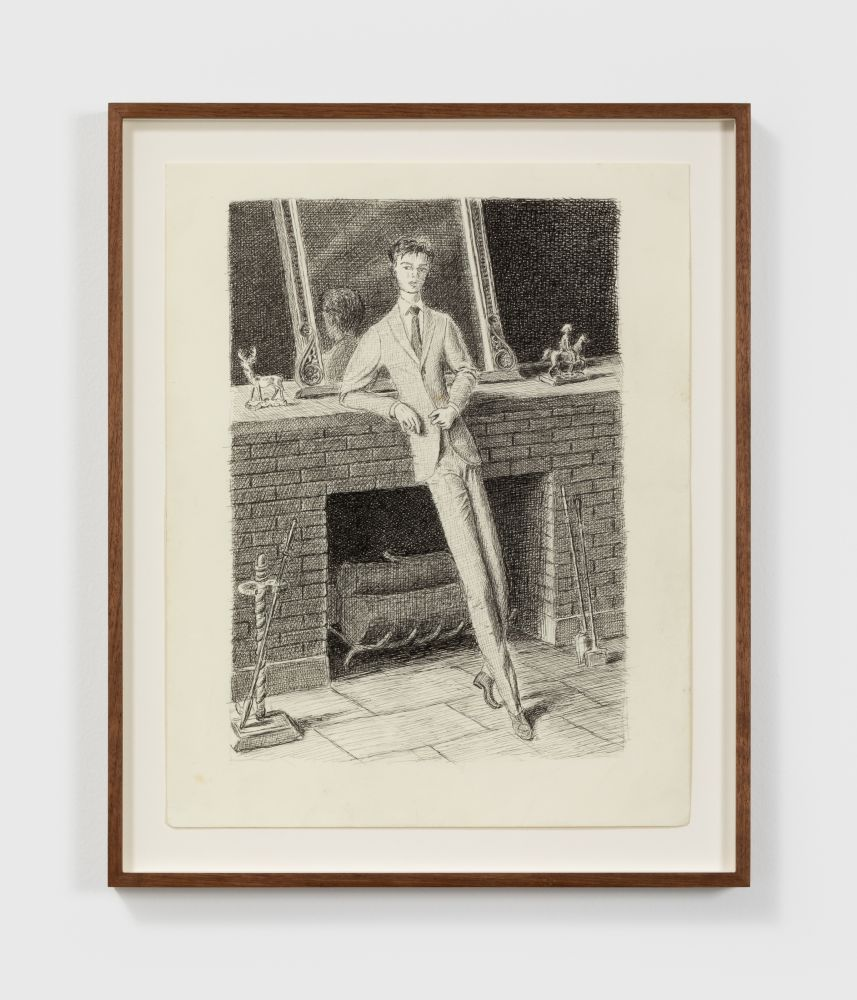 Jansson Stegner Man by fireplace, 2018 Ink on paper 14 x 11 in (framed) 35.6 x 27.9 cm (JAS20.012)
