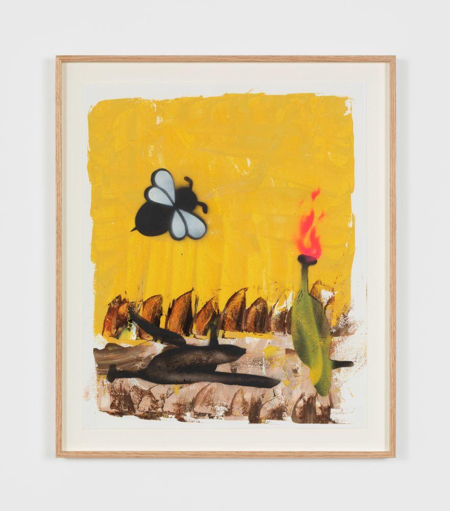 Alessandro Pessoli Human Burning Springtime, 2020 oil, spray paint, oil pastel on paper 17 x 14 in 43.2 x 35.6 cm (APE20.004)