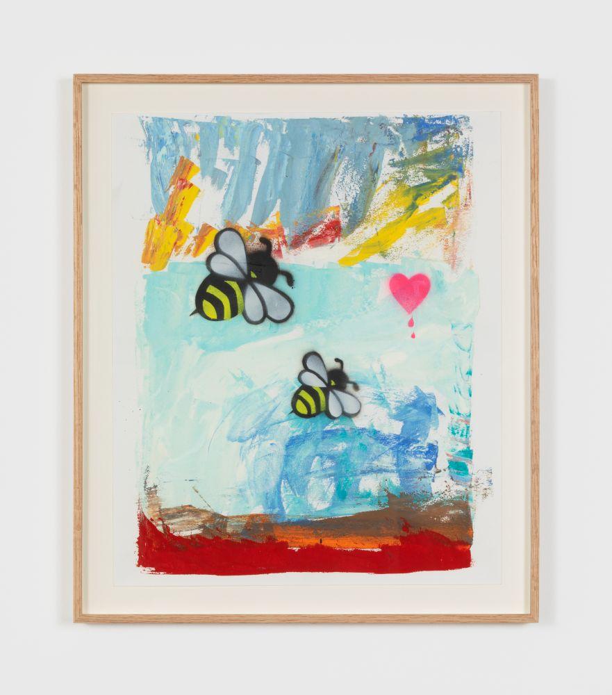 Alessandro Pessoli Ardente Primavera, 2020 oil, spray paint, oil pastel on paper 17 x 14 in 43.2 x 35.6 cm (APE20.005)