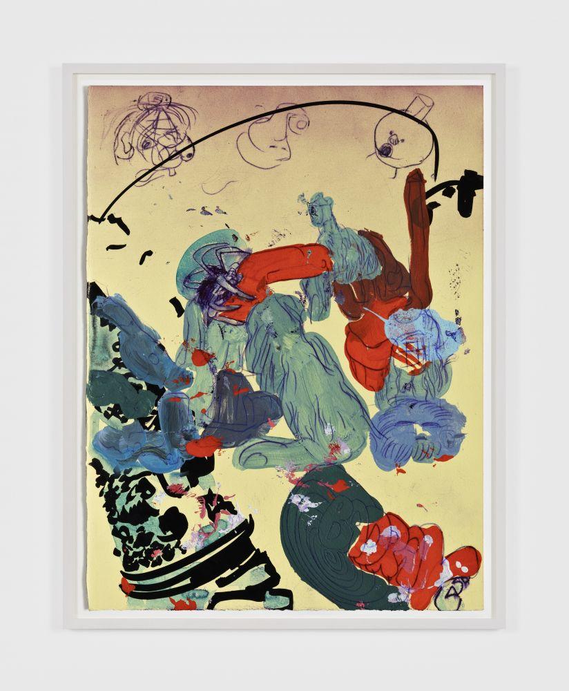 Antwan Horfee Grinchet Jones 4, 2021 Acrylic and chemical ink on paper 15 x 11 1/8 in 38 x 28 cm (HOR21.017)