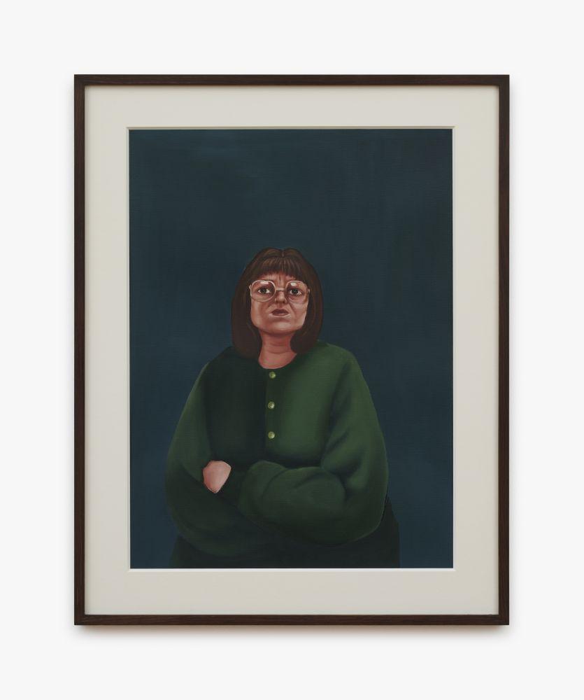 Madeleine Pfull, Green Cardigan Study, 2020. oil on paper, 19 1/4 x 24 5/8 in, framed 49 x 62.5 cm, framed (MP20.024)