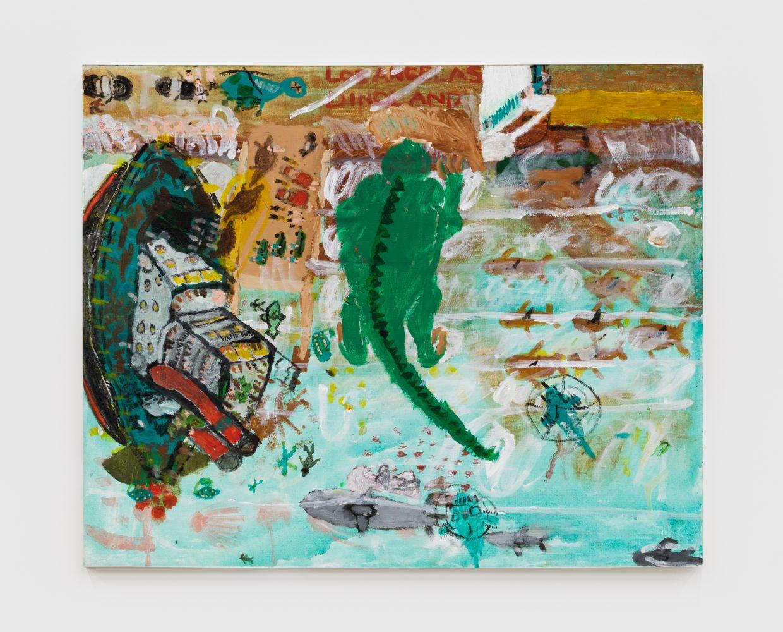 Raynes Birkbeck, Shipment for Dinoland, 2020. Oil and acrylic on canvas, 24 x 30 in, 61 x 76.2 cm (RBI20.008)