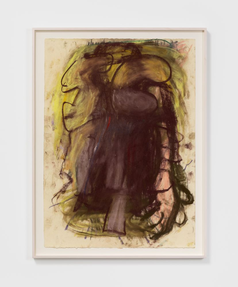 Anke Weyer Figure with Brown Coat, 2020 oil pastel on paper 26 x 19 in 66 x 48.3 cm (AWE20.002)