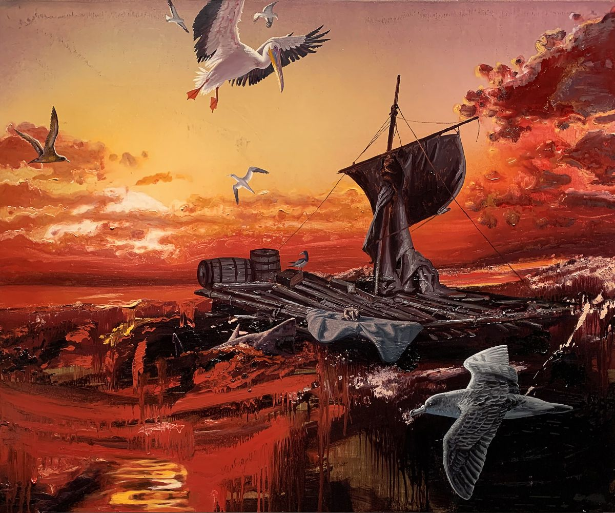 painting of an empty raft with birds and sharks circling