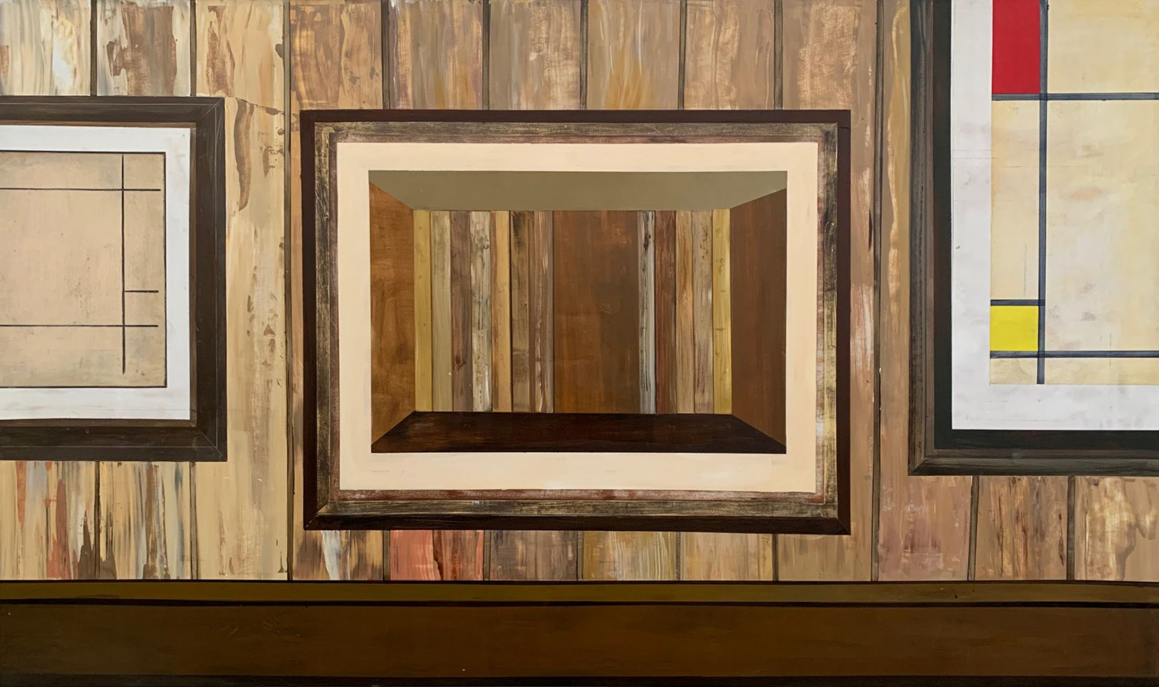 a painting of a wood room hanging over a painted wood wall