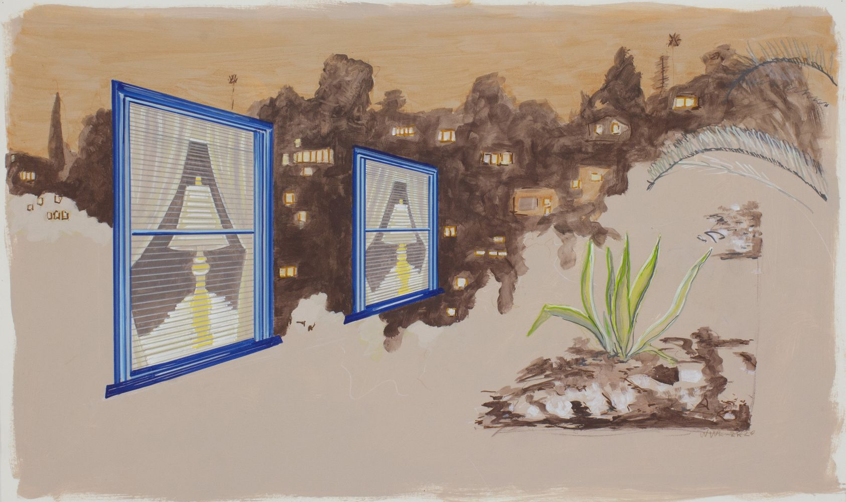 William Leavitt, Receding Windows, Agave, 2020