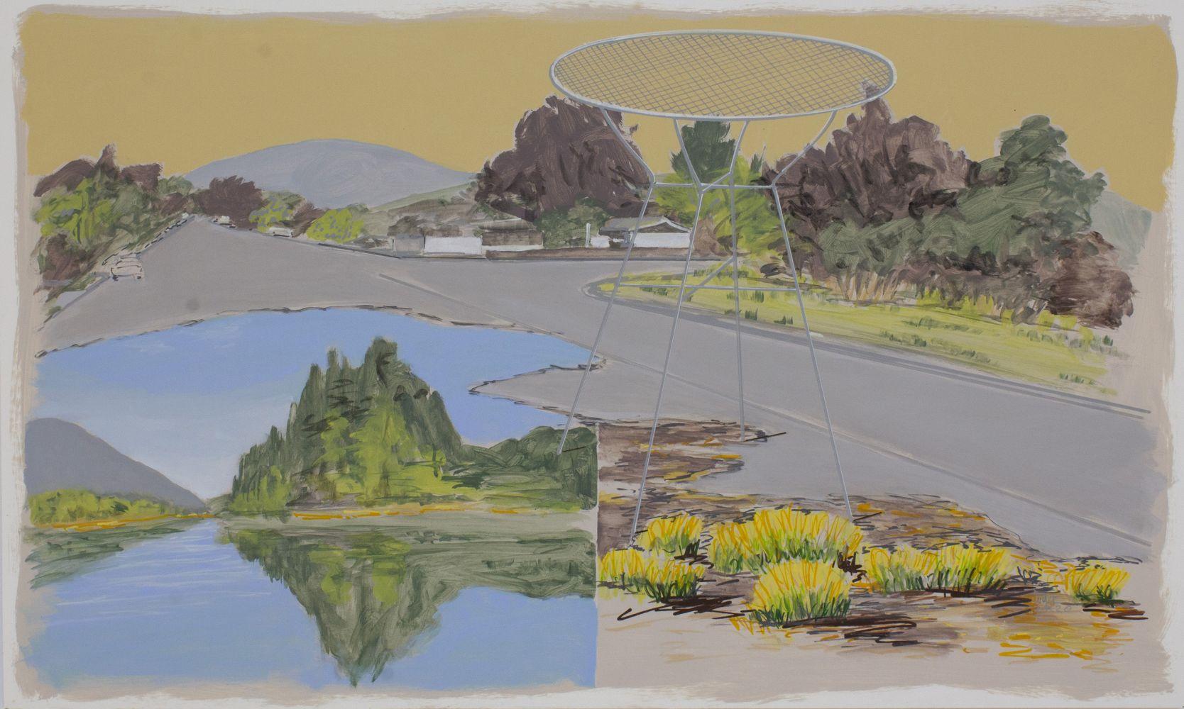 William Leavitt, Island, street, table, bushes, 2020