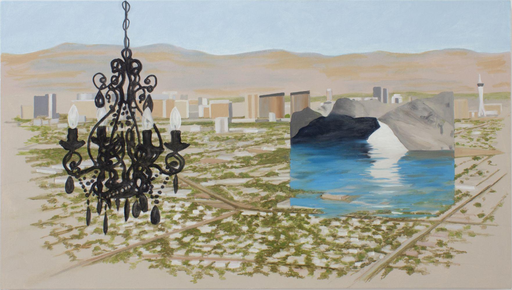 William Leavitt, Chandelier, Vegas, Green grotto, 2020