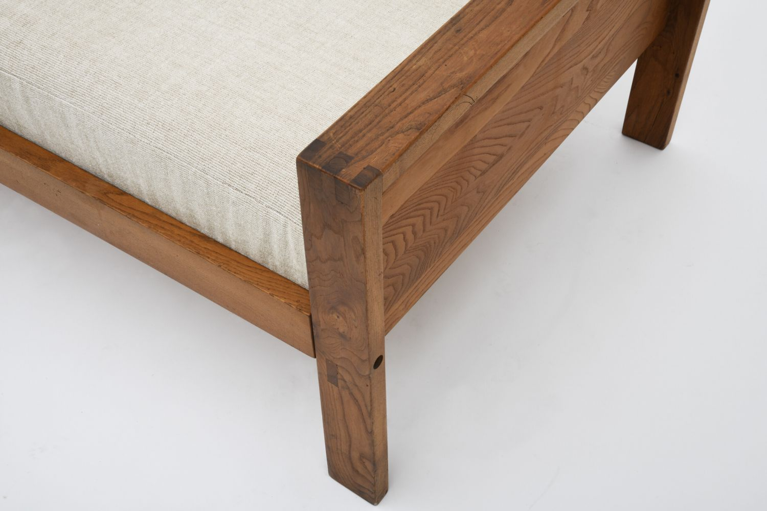 """Pierre Chapo's """"L06A"""" daybed, detailed view of arm and upholstery"""