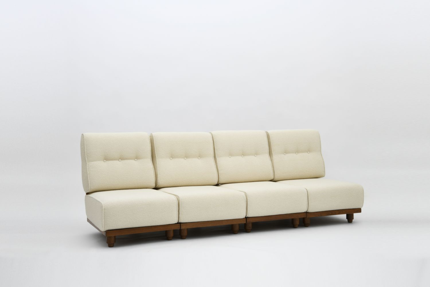 "Guillerme et Chambron - Set of 4 ""Elmyre"" low chairs/Four-seat sofa"