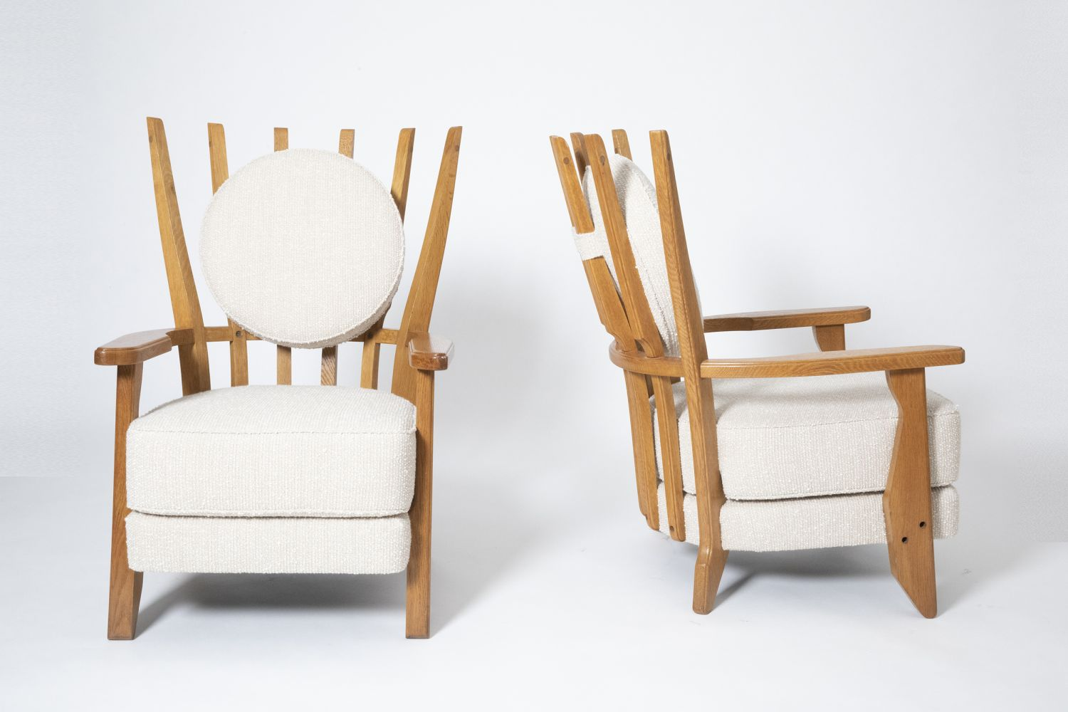"""Guillerme et Chambron's Pair of """"Tapissier"""" armchairs, full front and side views of both armchairs"""