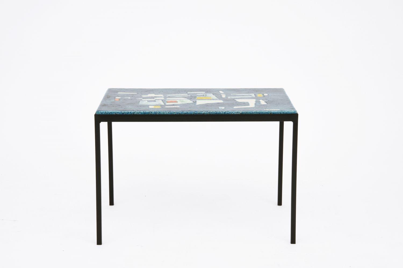 Jo Amado's ceramic coffee table, full straight view