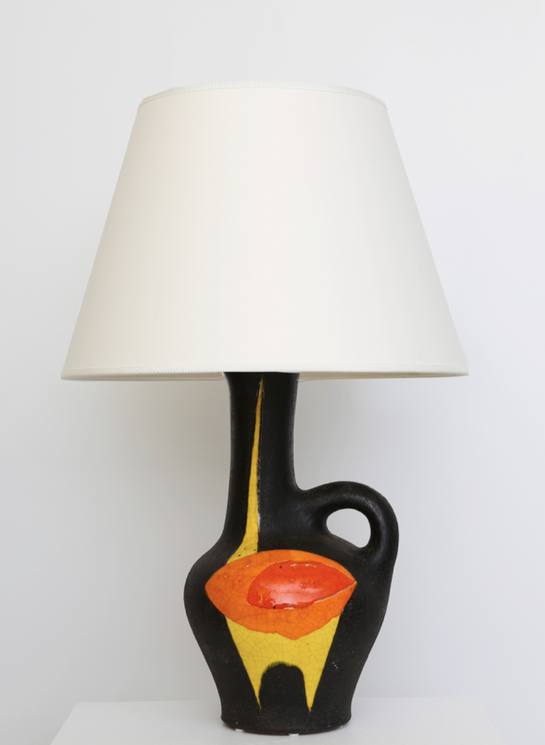 Gilbert Valentin / Les Archanges' ceramic table lamp, full straight view