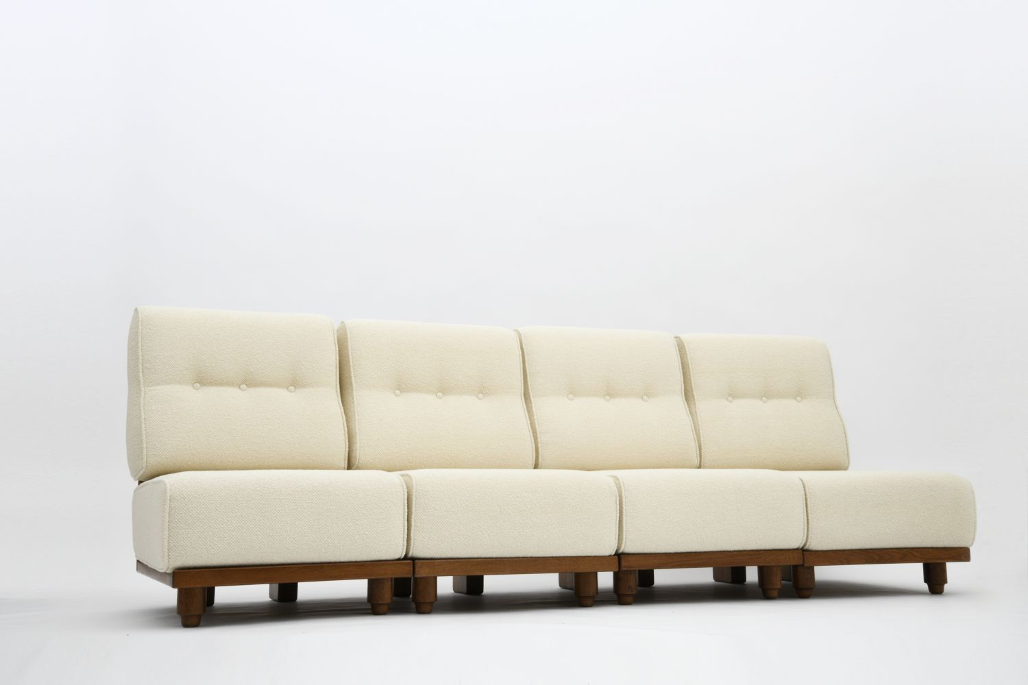 "Guillerme et Chambron - Set of 4 ""Elmyre"" low chairs/Four-seat sofa, c. 1950"