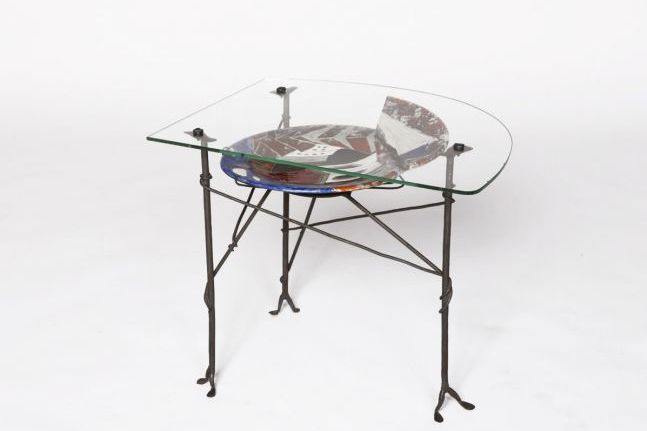 Les Archanges - Ceramic and glass coffee table, c. 1950