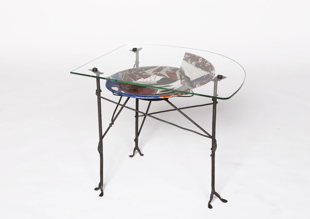 Les Archange' ceramic and glass coffee table, full view from slightly above