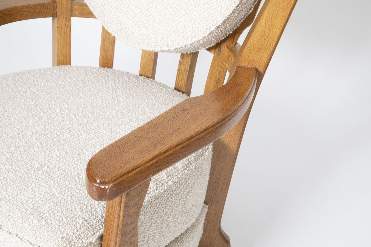 """Guillerme et Chambron's Pair of """"Tapissier"""" armchairs, detailed view of arm and seat"""