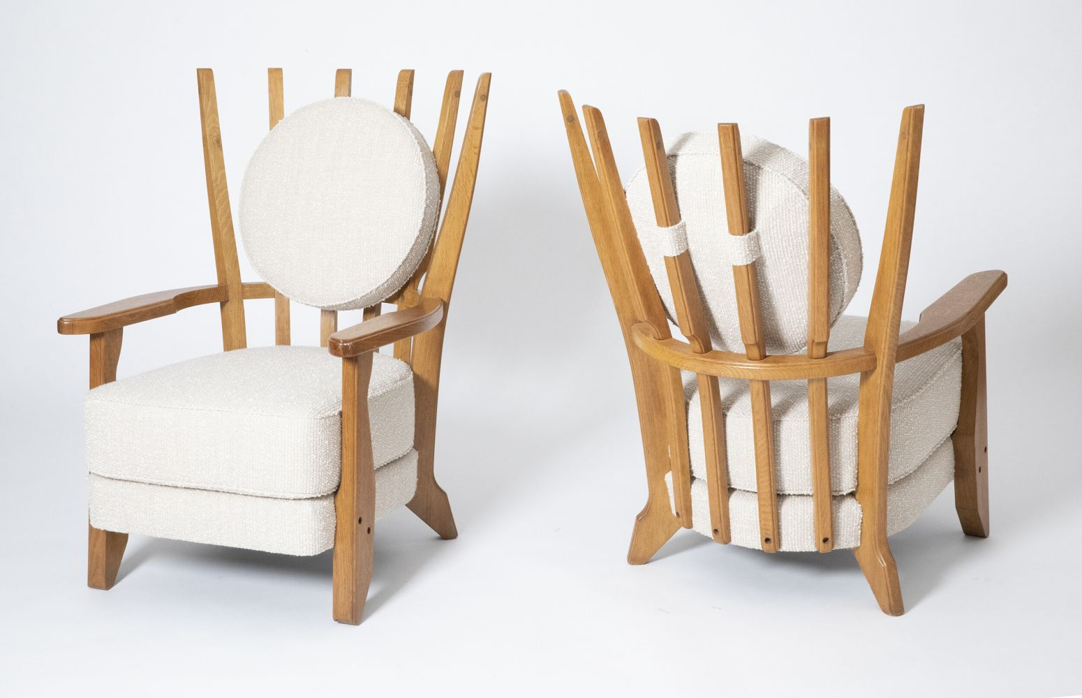 """Guillerme et Chambron's Pair of """"Tapissier"""" armchairs, full front and back view of both armchairs"""